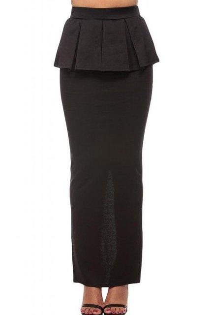 48d5a5382f Women Solid Ruffles Mustard Peplum Maxi Skirt with Slit Woman Ladies Plus  Size 3XS-8XL