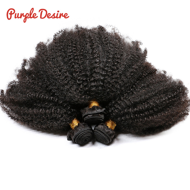 Afro Kinky Curly Hair 3 Bundles Brazilian Curly Hair 100% Remy Human Hair Bundles Extensions 8-30inch Natural Double Weft Weave (3)