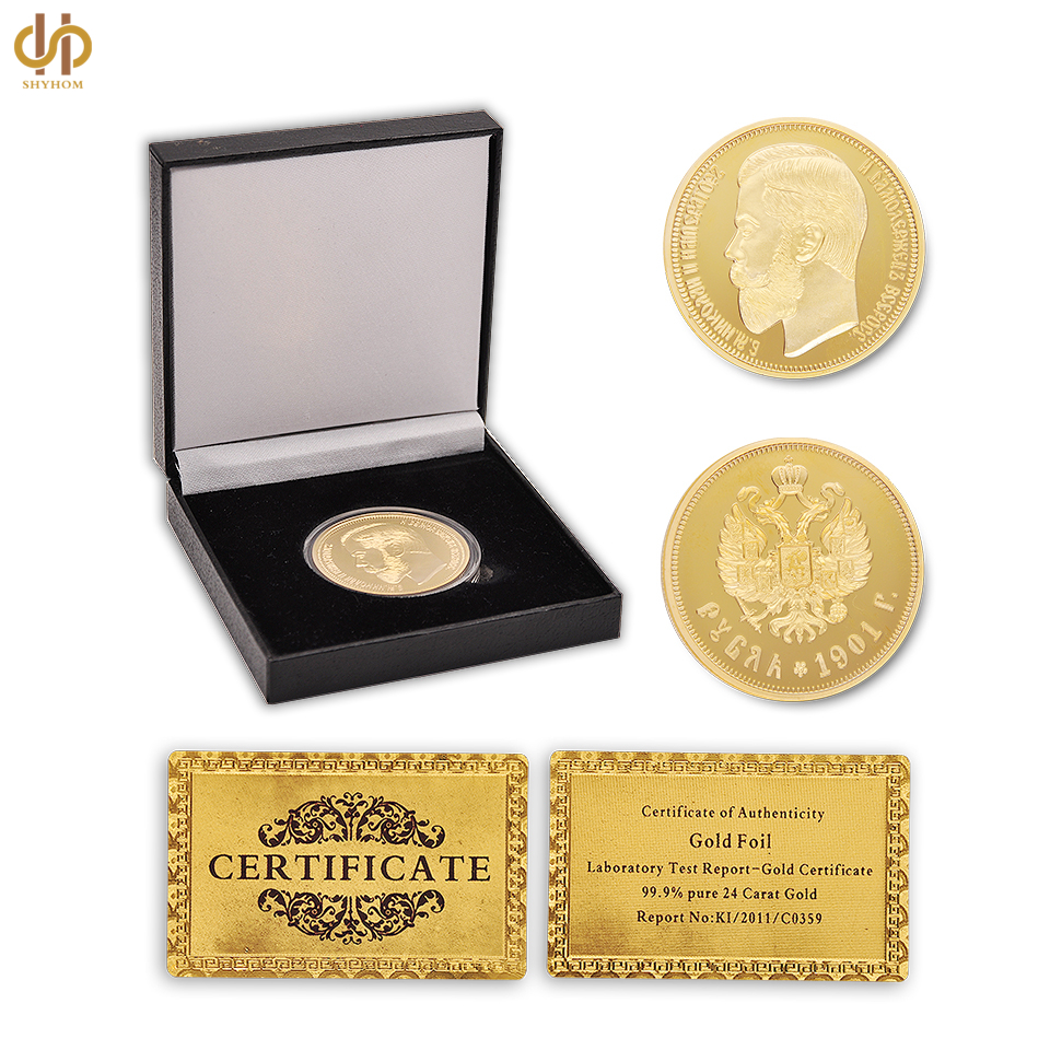 1901 Russia Ruble Nicholas II Emperor Gold Copy Old Coin Collection W/ Luxury Coin Box