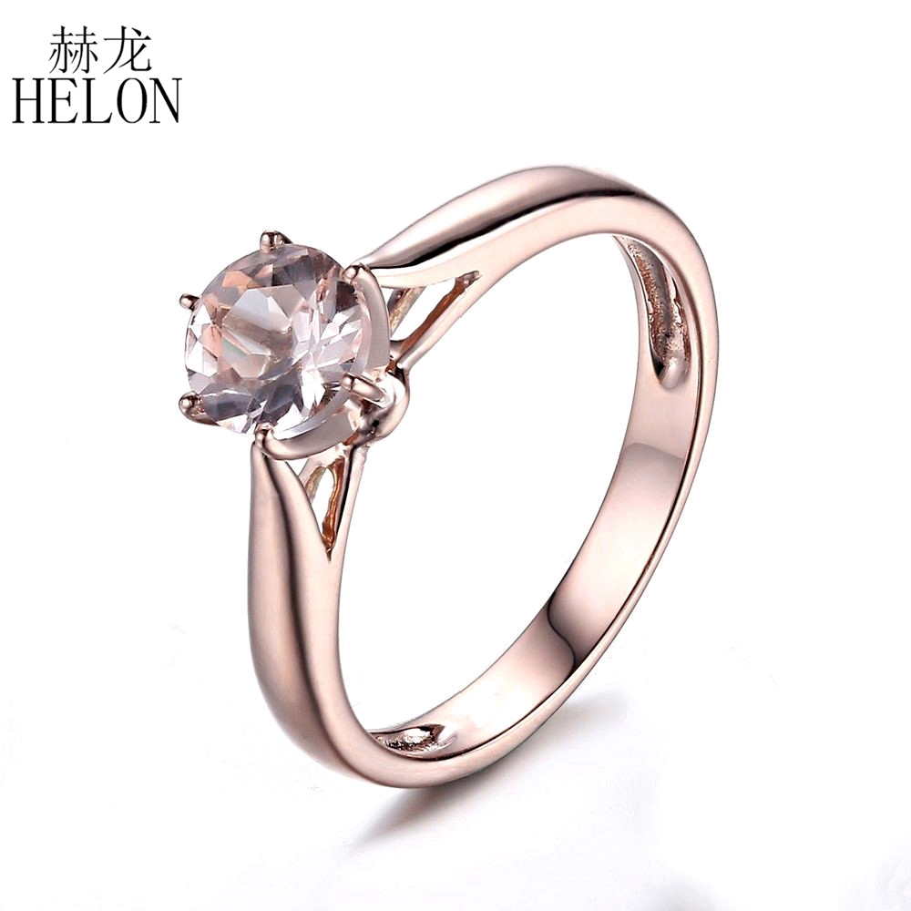 HELON 925 Sterling Silver 6mm Round Prong Setting Flawless Morganite Ring Women Jewelry Engagement Wedding Simple Style Ring stylish faux crystal round simple style ring for women