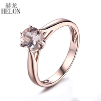 HELON 925 Sterling Silver 6mm Round Prong Setting Flawless Morganite Ring Women Jewelry Engagement Wedding Simple Style Ring