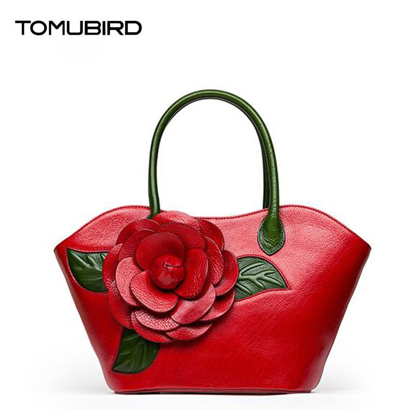 TOMUBIRD superior cowhide leather Designer Inspired   Shoulder Bags flower Handmade Leather Satchel Handbags