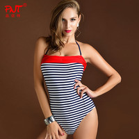 High Quality Brand Womens Sexy Plus Size One Piece Swimsuit Backless Navy Blue Stripes Bodysuit Costume