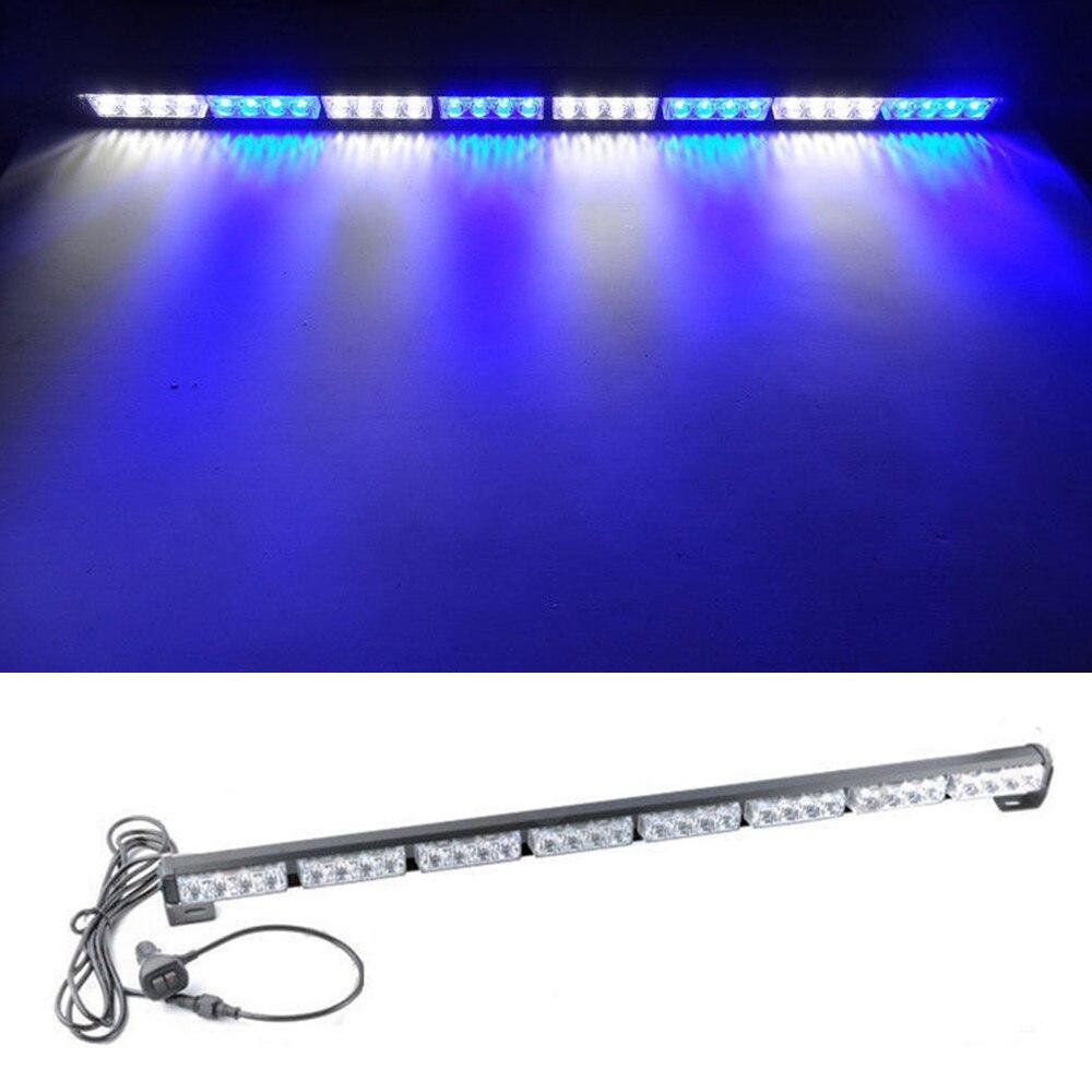 CYAN SOIL BAY 35 36 32W 32 LED Emergency Warning Advisor Strobe Flash Light Bar Blue White Flashing Lamp