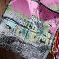 60cm*60cm Women 2016 New Fashion Imitated Silk Euro Van Gogh Oil Print Castle Town Building Printed Lady Square Scarf Hot Sale