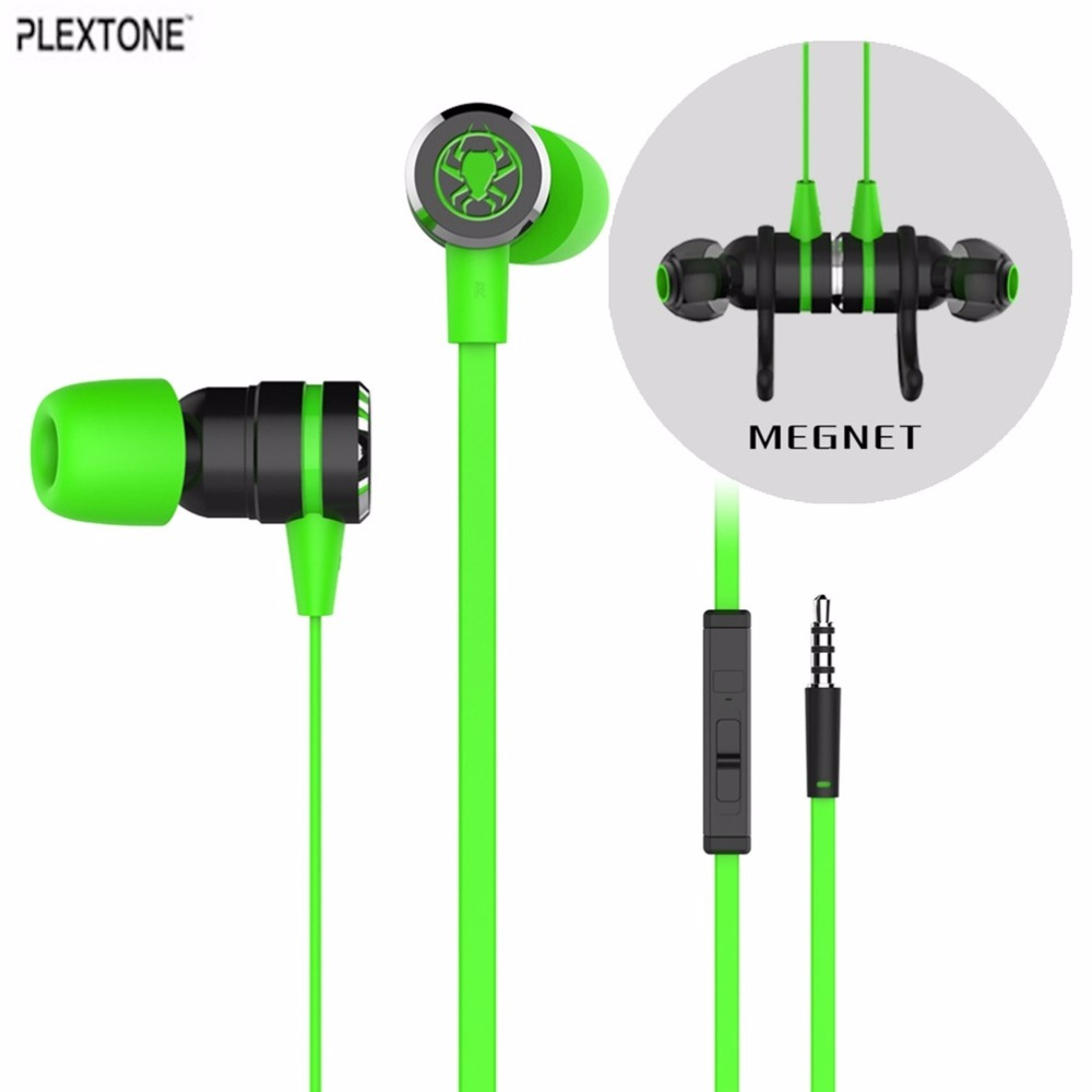 PLEXTONE G20 In-ear Earphone With Microphone Wired Magnetic Gaming Headset Stereo Super Bass Earbuds For PC Mobile Phone rock y10 stereo headphone earphone microphone stereo bass wired headset for music computer game with mic