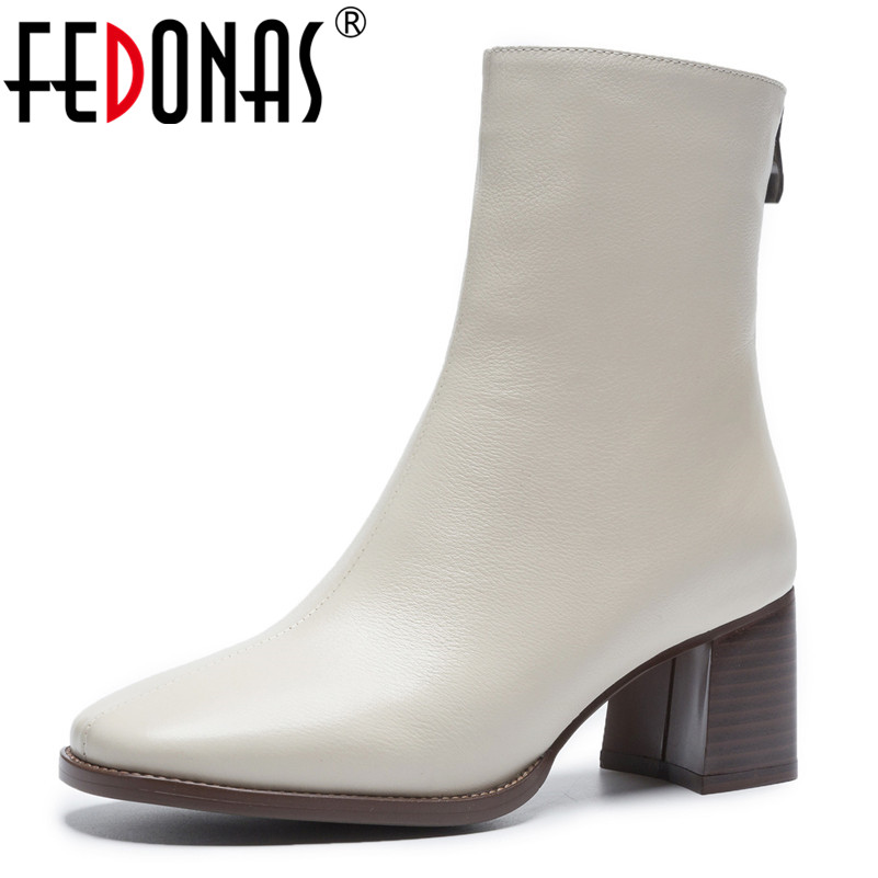 FEDONAS 2019 Promotional Winter Autumn Women Boots Platforms Square Heel Ankle Boots Cow Leather Motorcycle Lady Ladies Shoes-in Ankle Boots from Shoes