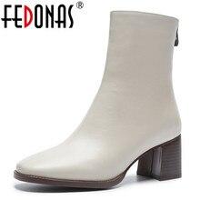 FEDONAS botas con plataformas para mujer, botines con tacón cuadrado, de cuero de vaca, para invierno y otoño, 2021