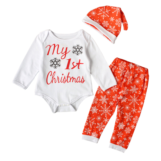 Babykleding Eerste Kerst.Us 8 53 21 Off Baby Jongens Kleding Mijn Eerste Kerst Katoen Bodysuit Broek Set Babykleding Set Pasgeboren Meisjes Kleding 4 24 Maanden Set Suits