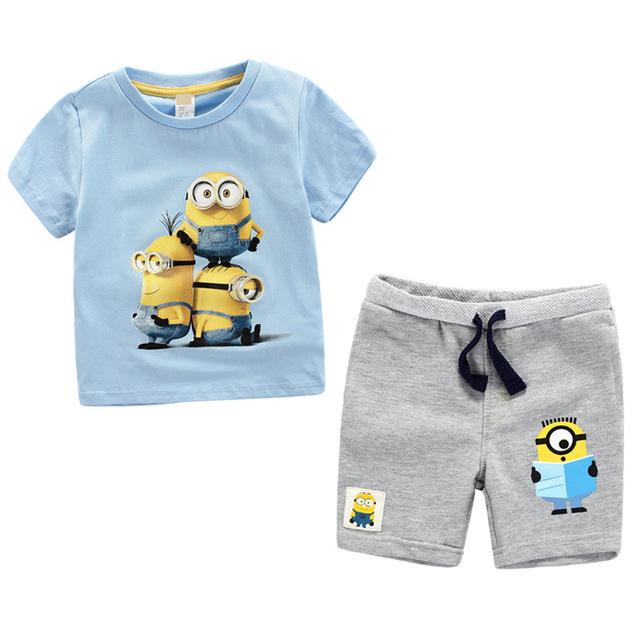 Meninos conjuntos de roupas de bebê menino de verão terno 2017 despicable me asseclas crianças menino roupas asseclas T-shirt de manga curta com shorts conjuntos