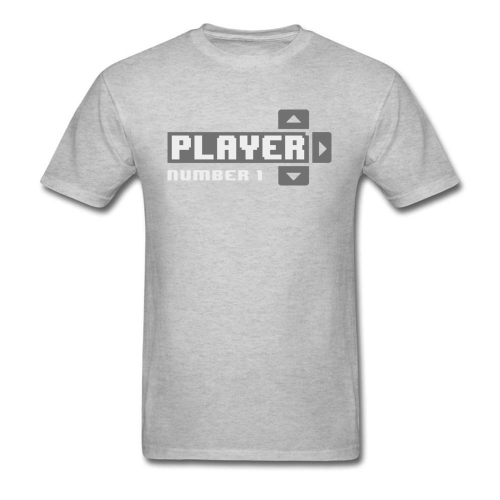 Player Number 1 All Cotton Tops T Shirt for Men Leisure T Shirt 3D Printed Prevailing O-Neck Tops Shirt Short Sleeve Player Number 1 grey