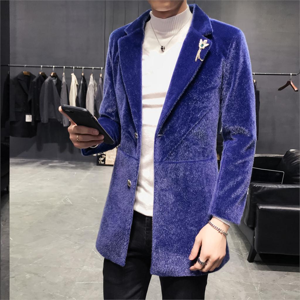 Loldeal Coupe Moderne Côté Velours-Vent Veste de Costume Hommes Outwear Vestes Longues Nouvelle Mode Mâle décontracté Tranchée Grand S Manteaux