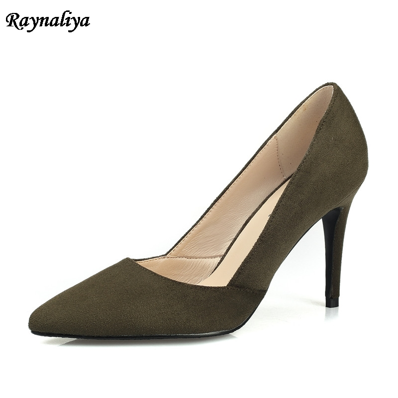 Plus Size New Genuine Leather Women Pumps Pointed Toe Sexy Solid Color Party Wedding Shoes Ladies Classic Shoes 7CM XZL-B0046