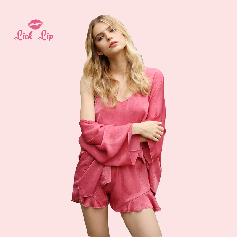 3cd15a0489 Detail Feedback Questions about Lick Lip Pink Pajama Set Women 4 Pieces Sexy  Robe V Neck Pyjamas Suit Female Satin Sleepwear Ruffle Shorts Mujer 2018 ...