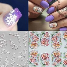 1pc 3D Engraved Flower Nail Sticker Embossed Flamingo Leaves Fashion  Water Decals Empaistic Slide