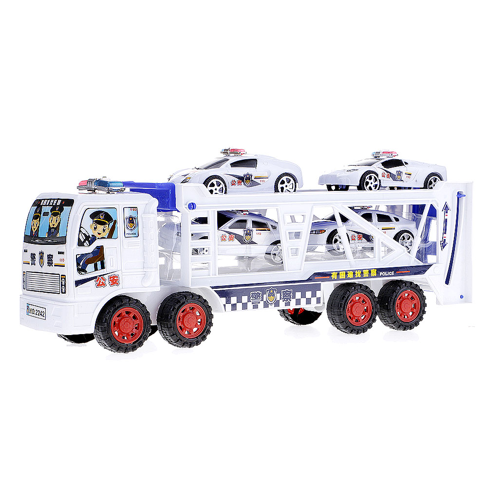 Plastic Double Deck Trailer Carrier Truck With 4 Cars Baby Kids Play Toys