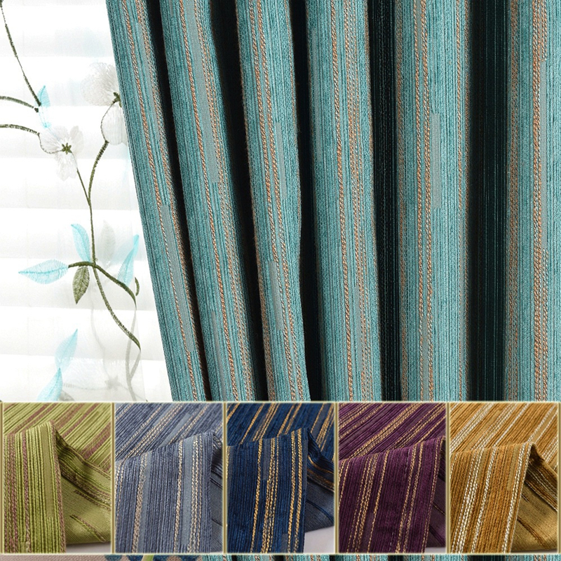 Kitchen Curtains Fabric Curtains Fabric Stripe Drapes: [byetee] Modern Chenille Stripe Kitchen Blackout Curtains