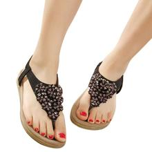 kai yunon Women's Fashion Sweet Beaded Clip Toe Flats Bohemian Herringbone Sandals Aug 22