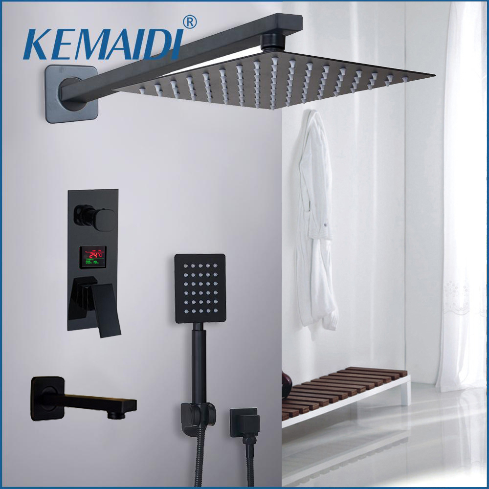 KEMAIDI Bathroom Shower Faucet 3 Functions Black Digital Shower Faucets Set Rainfall Shower Head 2 way