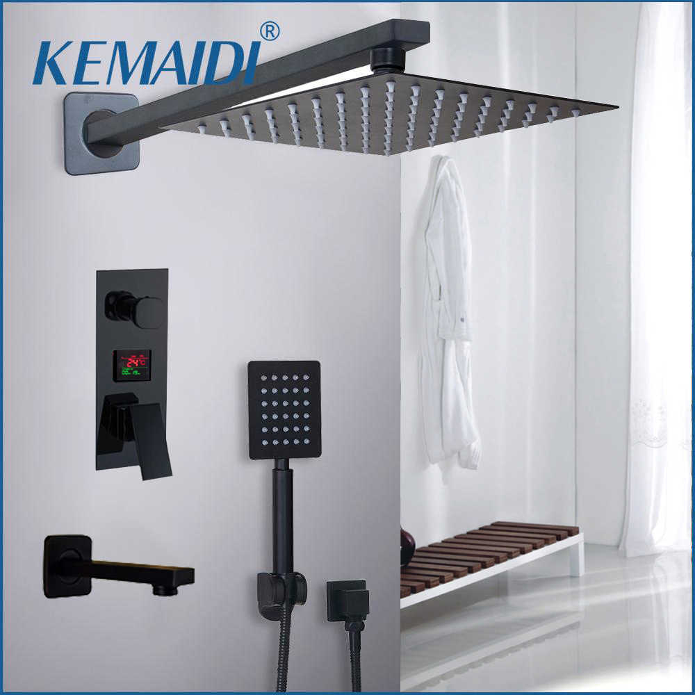 KEMAIDI Bathroom Shower Faucet 3-Functions Black Digital Shower Faucets Set Rainfall Shower Head 2-way Digital Display Mixer Tap