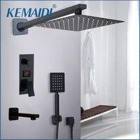 KEMAIDI Bathroom Shower Faucet 3 Functions Black Digital Shower Faucets Set Rainfall Shower Head 2 way Digital Display Mixer Tap