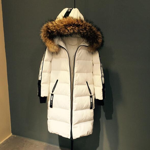 Fashion 2017 winter down jacket coat women parkas 5 letter print real raccoon fur collar hooded thicken outwear T838