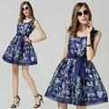 Высокое качество Новая мода Европейский Стиль 2015 женщины летнее платье без рукавов из органзы 3D Печати платье Vestidos Случайный