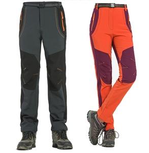 Image 3 - 2020 Nuovi Uomini di Inverno Delle Donne Pantaloni da Trekking Allaria Aperta Softshell Pantaloni Impermeabili Pantaloni Antivento Termico per Il Campeggio Sci Arrampicata RM032