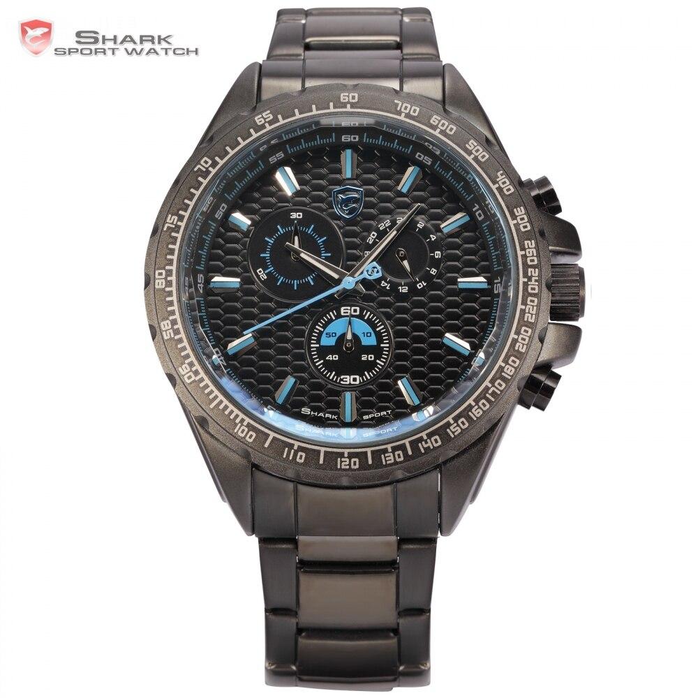 цена на Steel Frilled Shark Sport Watch 3D Black Blue 6 Hands 24Hr Stopwatch Stainless Steel Bezel Men Quartz Military Wristwatch /SH189