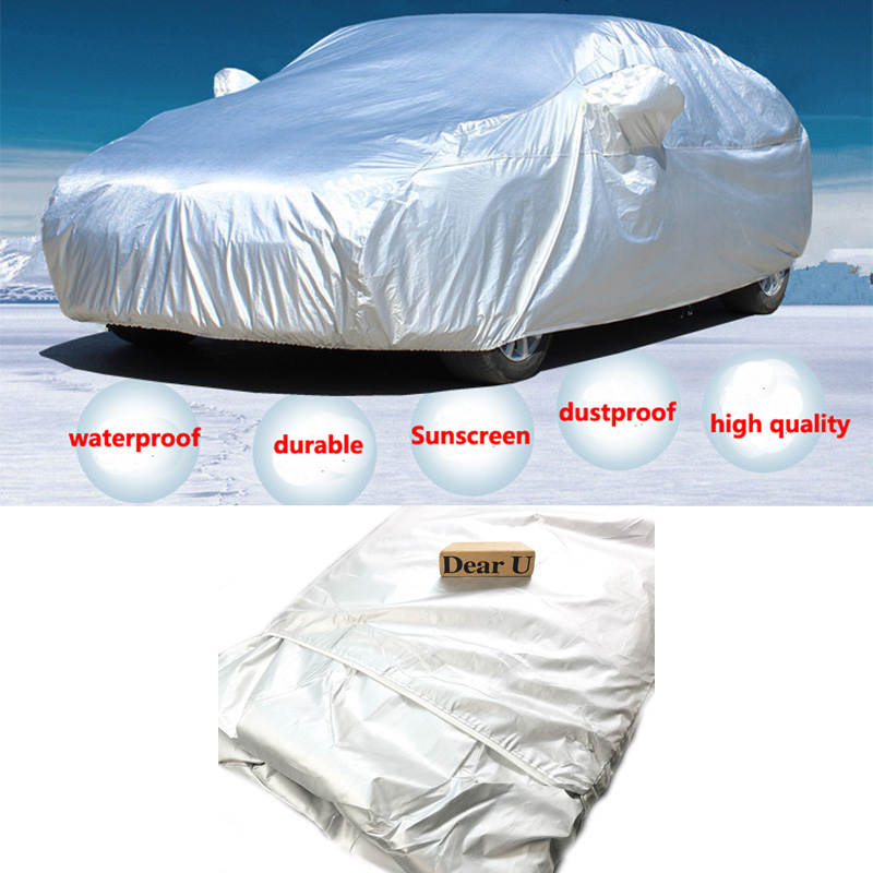 JEAZEA Silver Full Car Cover Waterproof Thicken Case Anti UV Rain Sunshade Heat Protection Dustproof Outdoor
