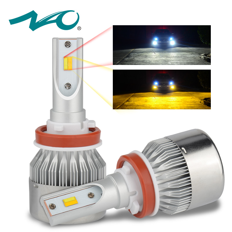 NAO Double Color H7 LED H11 led Bulb Car Headlight car light H4 H8 H9 H27 880 H3 H1 HB3 9005 HB4 9006 72W 7600LM 6500K 3000K D33 darkaway car headlight bulb h7 h4 h1 h11 h9 9006 9005 880 d2s 9012 h13 9007 led light for truck automobile 7600lm 72w all in one