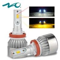 NAO Double Color H7 LED H11 led Bulb Car Headlight car light H4 H8 H9 H27 880 H3 H1 HB3 9005 HB4 9006 72W 7600LM 6500K 3000K D33