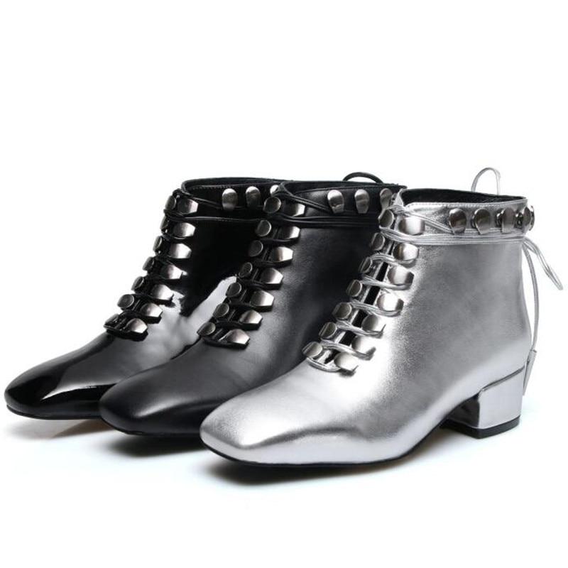 edb2c4d6e5061f argent Mode Bottes Cheville Patent 2019 Leather Black Chaussures up Lace  Femmes Bas Argent Botas Talon ...
