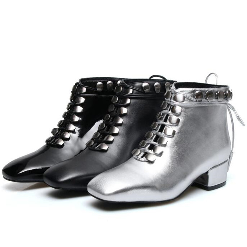 Cool Women Ankle Boots Lace-up Shoes Low Heel Silver Boots 2018 Fashion Women Botas цена 2017