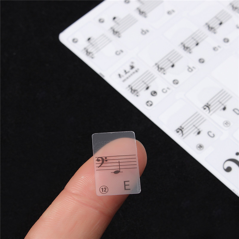 Zebra 2pcs White Transparent Piano Keyboard Music Note Sticker Piano Accessories Decal L ...