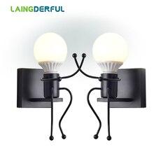 LAINGDERFUL Europa lámparas de pared de hierro Vintage LED luces de pared país decorar la luz para el hogar lámparas de pared del dormitorio
