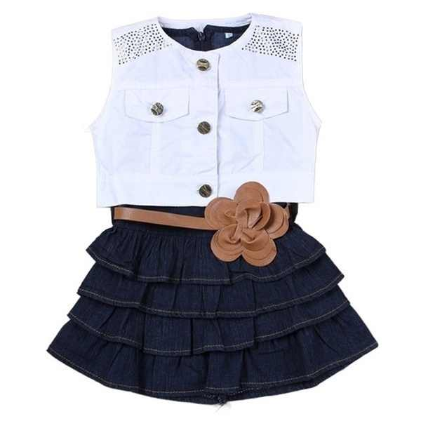 Одежда для маленьких девочек, платье 2019 новое платье для девочек + куртка, комплект из 2 предметов, Шелковый трикотажный Летний жилет для девочек Джинсовая юбка, подходит для детей 2-7 лет
