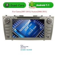 Quad core 1024*600 HD 2din Android7.1 CAMRY2007-11 oto radyo çift din araba dvd oynatıcı ile Ayna-bağlantı Bluetooth OBD2 DVBT
