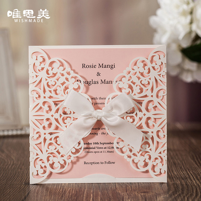 Aliexpress buy wishmade hollow white flora flowers wedding wishmade hollow white flora flowers wedding invitations elegant laser cut lace ribbon greeting cards with envelopes filmwisefo Image collections