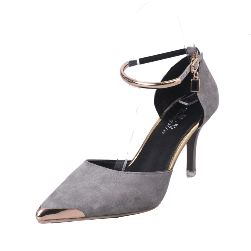 Fashion Women Pointed Toe Buckle Strap High Heels Sexy Style Shoes Wedding Shoes Flock Shallow Casual Shoes Slip-On pump shoes S newest flock blade heels shoes 2018 pointed toe slip on women platform pumps sexy metal heels wedding party dress shoes