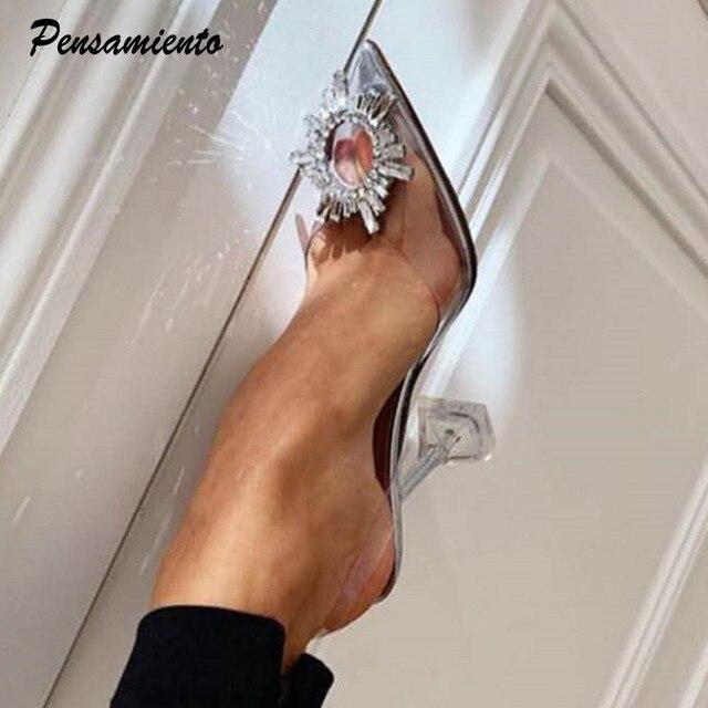 Big size 44 45 Women Pumps Elegant Pointed toe Rhinestones High heels Wedding Shoes Crystal Clear heeled Slingback Pumps Sandals