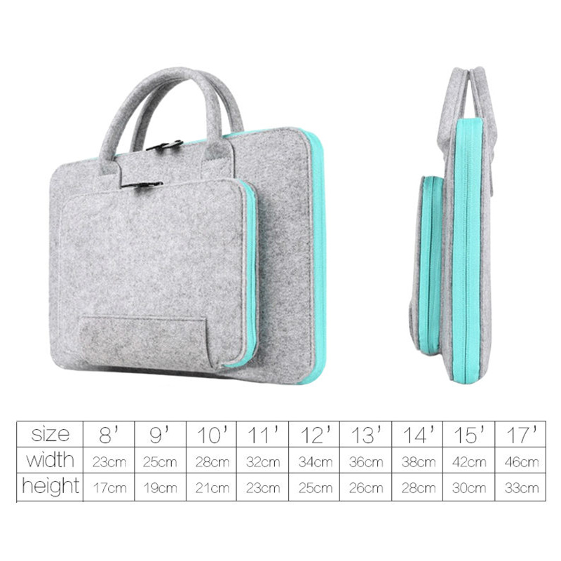 Image 5 - Wool Felt Laptop Bag For Mac 11 13 15 17 Mouse Bags Briefcase for Macbook Air Pro Retina For Lenovo Notebook Sleeve Case-in Laptop Bags & Cases from Computer & Office