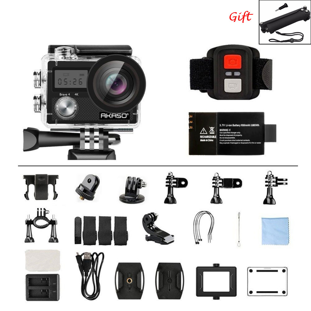 AKASO Courageux 4 D'action caméra Ultra HD 4 k WiFi 2.0 170D 20MP Sous-Marine Étanche Casque Sport Caméra Came cam Selfie bâton cadeau