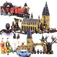 Harri Поттер Замок Хогвартс Экспресс поезд строительные блоки дом мини кирпичи Фигурки игрушки для детей с фантастическими животными legoings