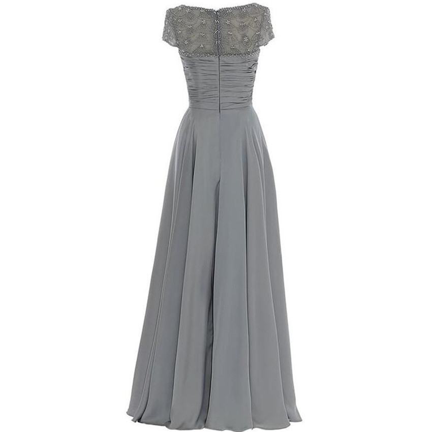 Long Gray Mother Of The Bride Dress Short Sleeve Beadings Pleated Chiffon 2017 Wedding Guest Women Formal Party In Dresses