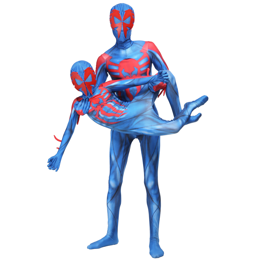 New 2099 Spiderman Costume For Adult Kids Spider Man Costumes Cosplay Spider- Man Superhero Party Costumes Zentai Jumpsuit Sets
