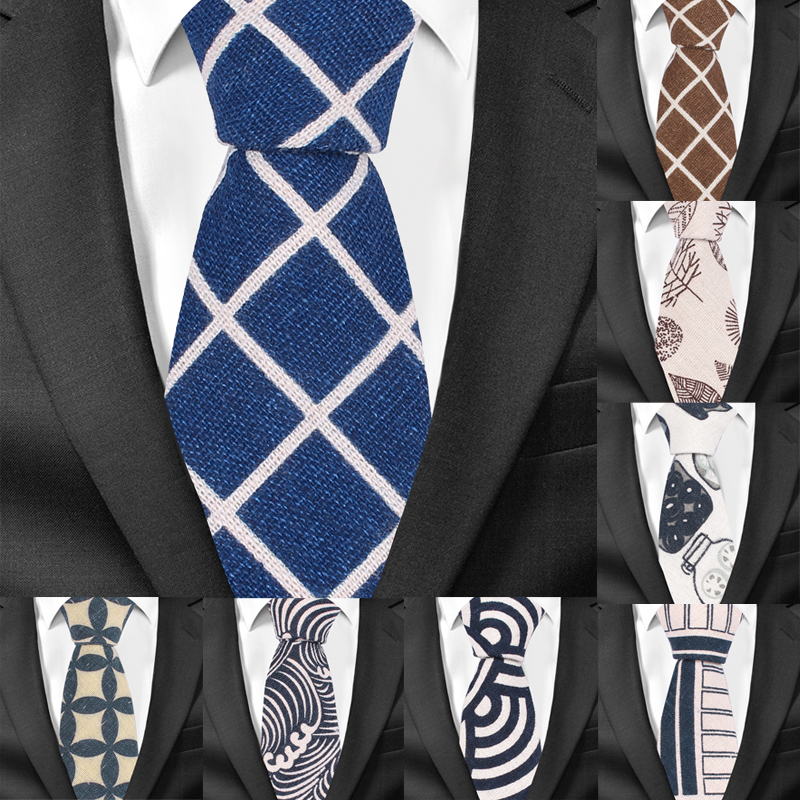 New Floral Print Necktie For Men Casual Cotton Linen Ties Plaid Slim Tie Male Suits Skinny Neck Tie For Wedding Business Gravats