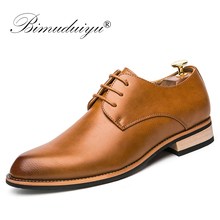 BIMUDUIYU  Cowhide Leather Dress Shoes For Men Fashion Oxford Formal Shoes Spring Pointed Toe Wedding Business Casual Shoe недорого