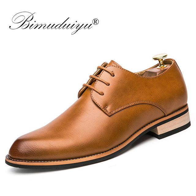 BIMUDUIYU  Cowhide Leather Dress Shoes For Men Fashion Oxford Formal Shoes Spring Pointed Toe Wedding Business Casual Shoe