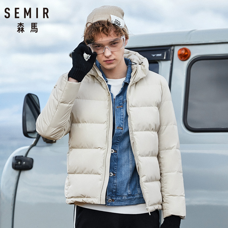 Semir casaco de inverno masculino 2019 novos casais casacos grossos 90% pato para baixo ultra-leve fino com capuz de algodão-acolchoado outwear sólido homem